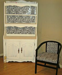 Furniture Makeover with tutorial! This was made with zebra print gift wrap and mod podge!!!