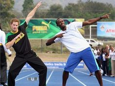 Usain Bolt meets Prince Harry  Images from Prince Harry's March 6, 2012 visit to Jamaica, where he got some on-track time with Olympic champion