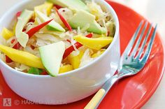 Tropical Sauerkraut Salad with Mango and Avocado