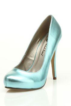 tiffany blue metallic heel.