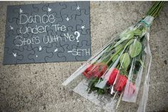 Dear guy who will ask me to prom,  I don't mind if you do this one... I <3 roses especially white ones and the stars are my favorite thing of God's creations. SO if you ask me this way, I might just say yes! idea, under the stars, school dances, dates, puzzles, date nights, prom, romantic gestures, sweet messages