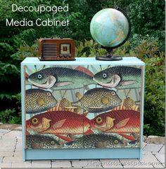 Decoupaged Media Cabinet by virginiasweetpea.com
