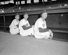 Boston Red Sox Mel Parnell, Willard Nixon, and Frank Sullivan around 1949.