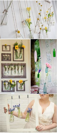 Hanging bottle flower vases - pretty and easy DIY wedding decor. I think Chris might get behind this, also fill it with pretty little wild flowers