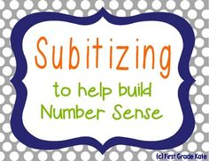 Subitizing!!  This is such an important yet overlooked skill.  This has picture cards and activity ideas for subitizing with dice, dominoes, and ten frames. $