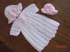 Latest Preemie Gown & Hat free crochet pattern crochet patterns, ruffl gown, preemi gown, premi hat, hat free