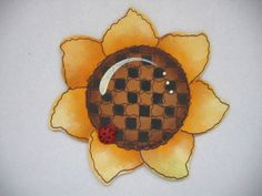 Yellow Sunflower Shaped Magnet with Lady Bug, Summer Time, Tole Painted