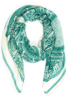 near and deer green print scarf / lulu's