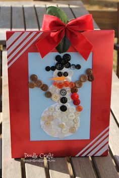 Snowman Buttons!  simple holiday craft for kids!