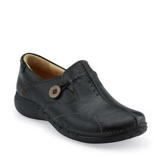 Un.Loop in Black Leather - Womens Shoes from Clarks.  This comfort casual is in our top ten best selling comfort shoes.  It fits great and feels good from day one.  Available in black, brown, navy, and wine.  Great fitting sizes from 5-12 N-M-W.  $119.95