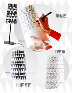 sharpie lamp diy - would be neat with a gray sharpie on a large round lamp shade hanging from the ceiling.
