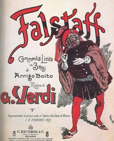 The poster for the first performance of Verdi's Falstaff which took place on 9 February 1893 at La Scala, Milan