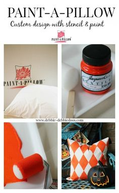 Paint-A-Pillow. Create a one of a kind custom pillow of your own. So easy to do! I absolutely love my pillows. #debbiedoos. #paintapillow