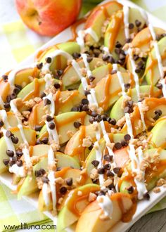 Caramel Apple Nachos - so delicious and so simple. It will be your family's new favorite treat!