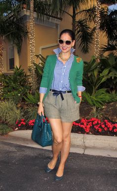 BAHHHH!  <3 this!!! Reverse: royal blue cardigan with green & white gingham shirt