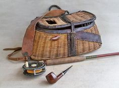 """Vintage Wicker Fishing Creel with Leather Trim """"Nicely Distressed"""" on Etsy, $85.17 CAD"""