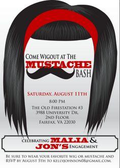 Wig n Mustache invite