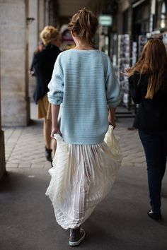 fashion, knit sweaters, outfit, long skirts, street styles