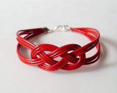 My DIY: Red Leather Strap Bracelet with Sailor Knot by starryday