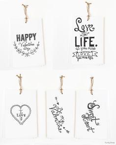 Free Printable Hand Drawn Valentine Tags