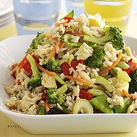 Lots of vegetables and brown rice make this a healthy side dish or a light meatless main dish.