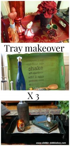 Tray makeover 3 times. #stencils #modpodge #bhg #chalkypaint.