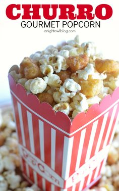 Gourmet Popcorn Recipes like this Churro Popcorn are the perfect addition to movie night!