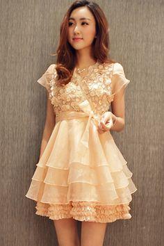 Appliqued Organza Mini Dress - OASAP.com