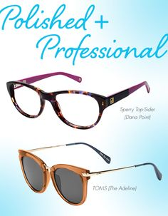 Polished + Professional: Take inventory of your favorite go-to office accessories—even snapping a photo of them on your phone before you hit the store could be helpful. Does your everyday bag have gold hardware embellishments? If so, maybe you can find a pair of frames with complementary metallic accents. Do you regularly reach for navy pumps? Glasses featuring a twist on traditional tortoiseshell with unexpected pops of blue could be the perfect finishing touch.