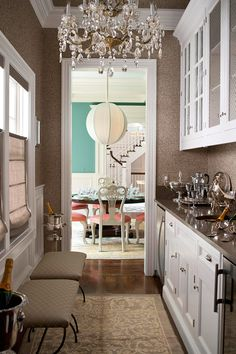 Butlers Pantry - in a metallic foil wallpaper.  The dining room backdrop isn't bad either.