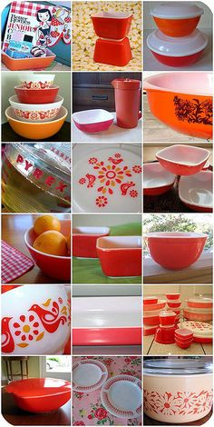 red Pyrex collection