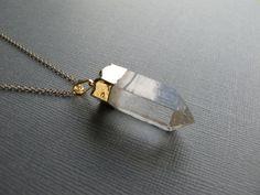 Gold Dipped Quartz Point Necklace, Raw Stone Crystal Quartz Pendant