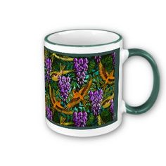 Available in two sizes, the design on this beautiful ceramic mug features Leslie Sigal Javorek's original digital painting that's a fresh take on a typical Victorian wallpaper and fabric theme of a flock of birds flying thru hanging wisteria vines. In richly warm shades of pine green, purples, gold & orange. Coordinating dishes & table linen @ http://www.zazzle.com/homearts/wisteria+gifts?rf=238155573613991097