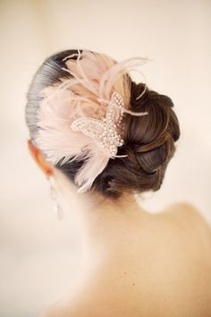 butterfly + feather bridal headpiece #wedding