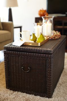 The handsome Pier 1 Dark Lindi Trunk is large enough to store all of your treasures