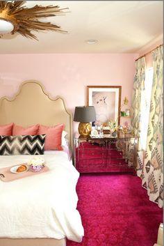 A pink rug brings the drama- follow us on www.birdaria.com like it love it share it click it pin it!!!