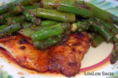 Chili-rubbed Tilapia with Asparagus and Lemon    Sooo good! Great for a quick, healthy meal!