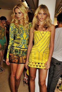 Blonde hair, yellow dresses.