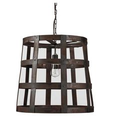 Crafted+out+of+rust+colored+iron+straps,+the+Iron+Chandelier+has+all+the+credentials+for+industrial+chic.