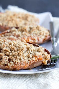 Thanksgiving is going to be delicious with these twice baked sweet potato souffles with a brown sugar crumb topping