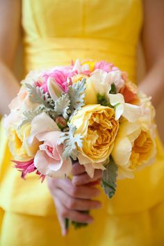 bright yellow and pink bouquet