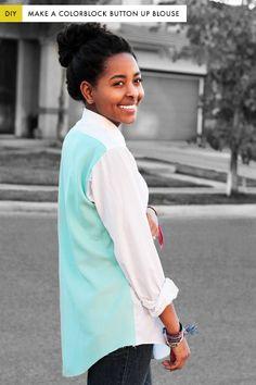 DIY: colorblock button up blouse