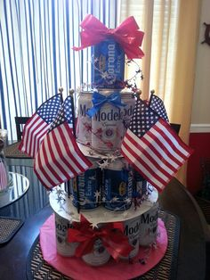 Wine beer cake for military homecoming I made :)
