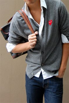 nice cardigan and shirt combo - this is the way to do it