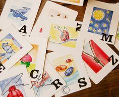 Jumbo size (4.5x5.5) Alphabet Flashcards  Hand Painted Watercolor by AnnaMarieCamacho, $9.00