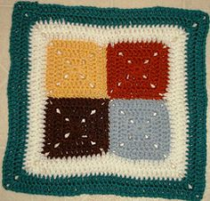 Crochet Simple Four Patch 12 inch Square free pattern.