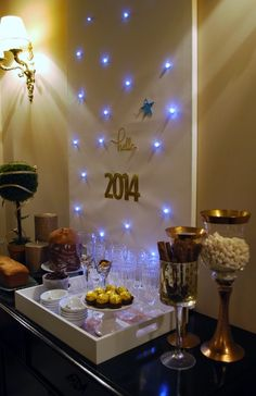 Lovely decor at a New Year's party!  See more party ideas at CatchMyParty.com!  #partyideas #newyears
