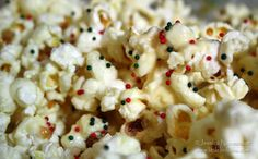 Christmas popcorn - use same recipe and holiday colored sprinkles
