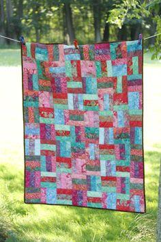 batik quilts, strip quilt, quilt idea