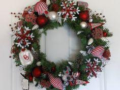 Christmas Wreath OU SOONERS collectible  Crimson Ornaments. $130.00, via Etsy.